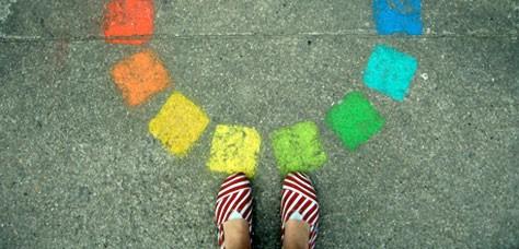 Color wheel chalk squares