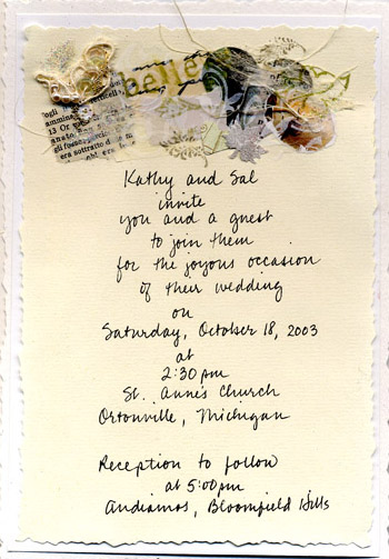 Wedding invitation for Kathy and Sol
